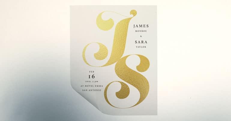 Wedding Invite Gold