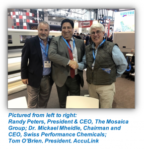 Pictured from left to right: Randy Peters, President & CEO, The Mosaica Group; Dr. Mickael Mheidle, Chairman and CEO, Swiss Performance Chemicals; Tom O'Brien, President, AccuLink