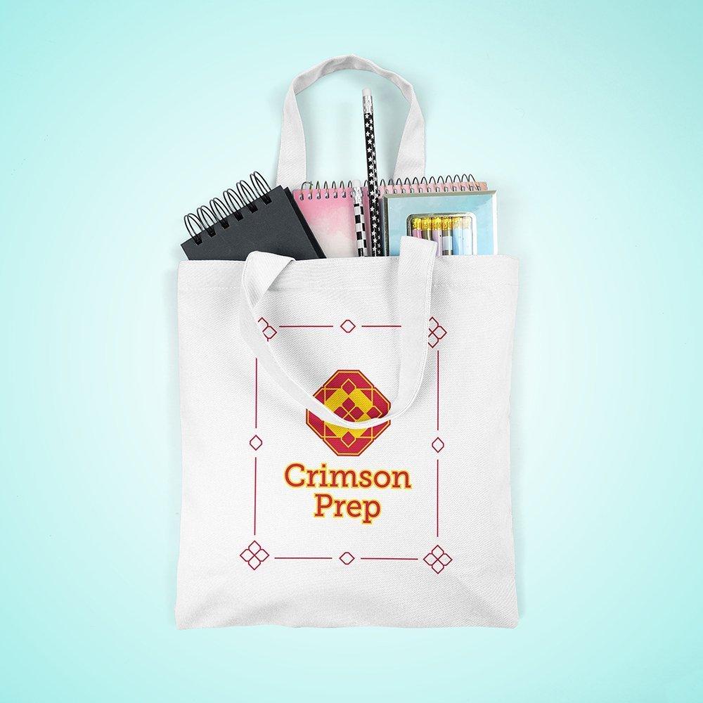 Crimson Prep Linen Grocery Bag